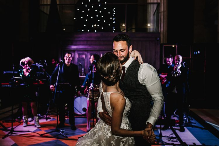 First Dance with Bride in Hayley Paige Wedding Dress and Groom in Walker Slater Suit