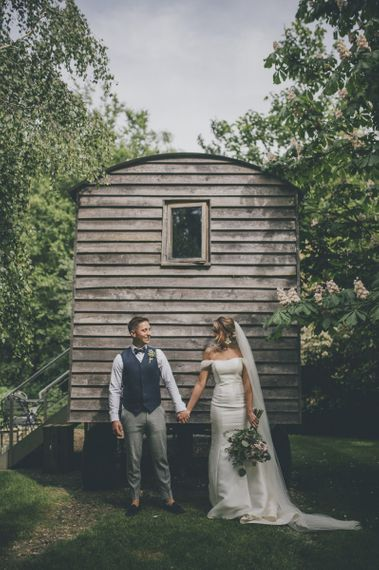 Bride and groom at Tythe Barn wedding venue