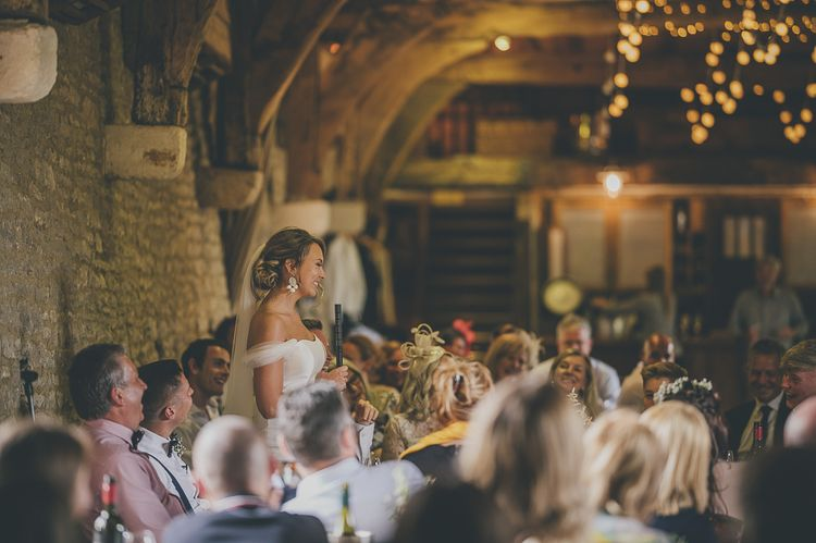Bride makes wedding speech during barn celebration