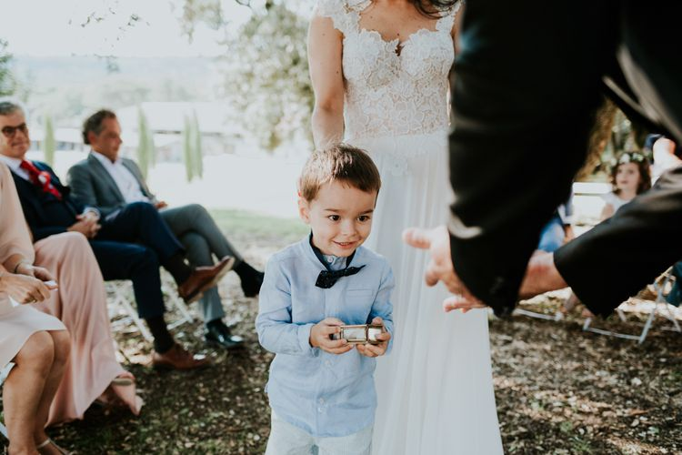 Little Boy Ring Bearer in Blue Shirt and Bow Tie