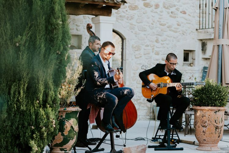 Wedding Entertainment in the Courtyard of Provence Wedding Venue