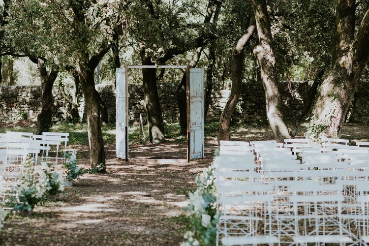 Outdoor Wedding Ceremony with Old Door Frame Wedding Decor