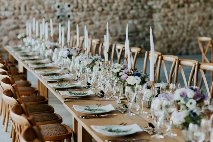 Rustic Table decor with Lilac Floral Centrepieces and Taper Candles