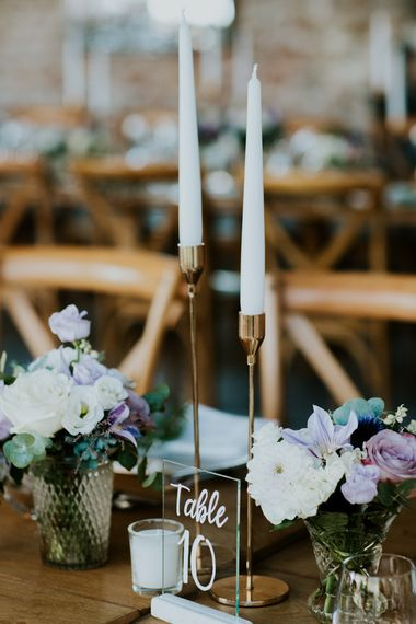 Glass Table Number Sign and Gold Candle Sticks with Taper Candles