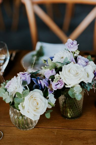 White and Lilac Wedding Flowers in Mercury Glass Votives