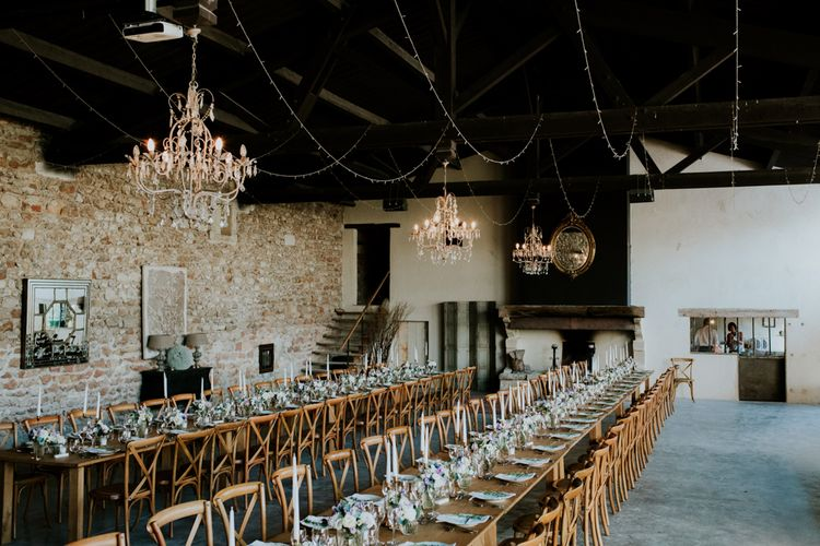 Rustic Barn Wedding Reception Tablescape