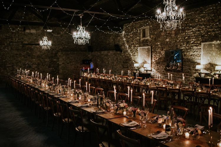 Barn Reception with Chandeliers, Fairy Lights and Candles Wedding Decor