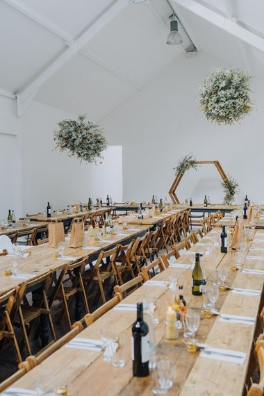 Reception with minimalist yellow wedding theme decor