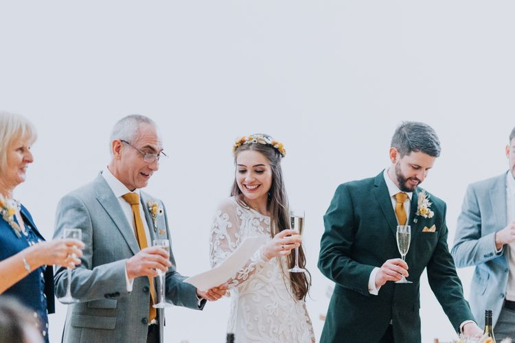 Wedding speeches at minimalist yellow wedding theme