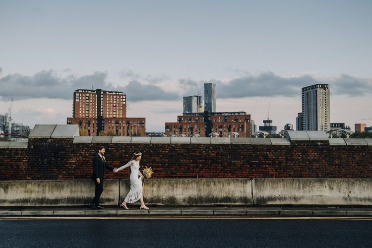Bride and groom industrial wedding portrait in Manchester