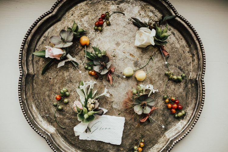 Buttonholes for Groom and Groomsmen | Outdoor Ceremony at Fishley Hall with Grace Loves Lace Fringe Dress | Darina Stoda Photography