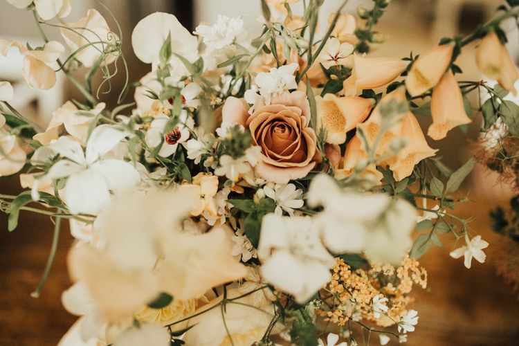 Bridal Bouquet of Mixed Flowers and Foliage with Champagne Trailing Ribbon | Outdoor Ceremony at Fishley Hall with Grace Loves Lace Fringe Dress | Darina Stoda Photography
