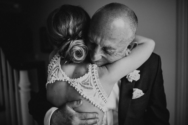 Father of the Bride First Look | Bride in Embroidered Grace Loves Lace Gown with Fringing and Cut Out Back | Father of the Bride in Black Gagliardi Suit with Bow Tie and Braces | Outdoor Ceremony at Fishley Hall with Grace Loves Lace Fringe Dress | Darina Stoda Photography