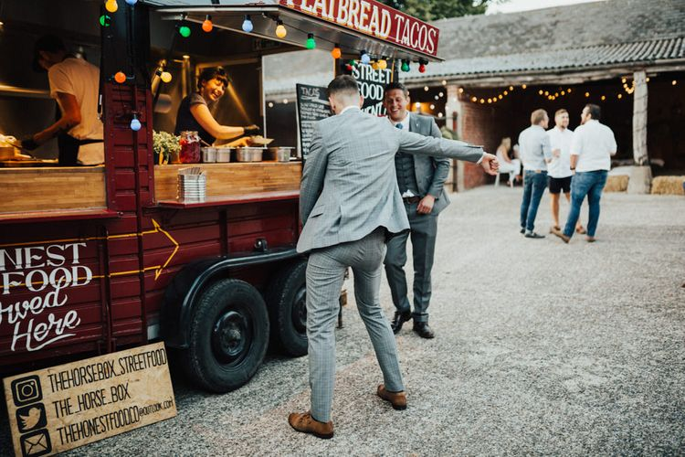 The Horse Box Street Food Flatbread Tacos | Guest Flossing | Outdoor Ceremony at Fishley Hall with Grace Loves Lace Fringe Dress | Darina Stoda Photography