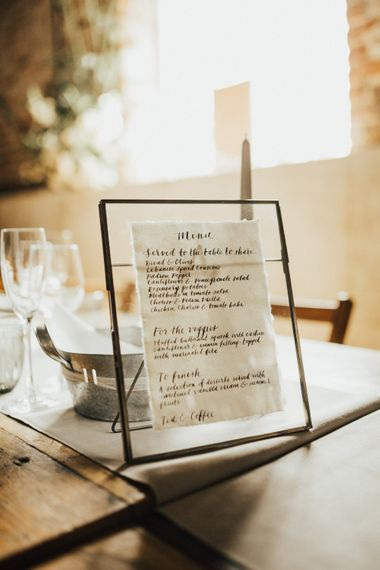 Wedding Breakfast Menu | Calligraphy Sign in Black Frame | Outdoor Ceremony at Fishley Hall with Grace Loves Lace Fringe Dress | Darina Stoda Photography