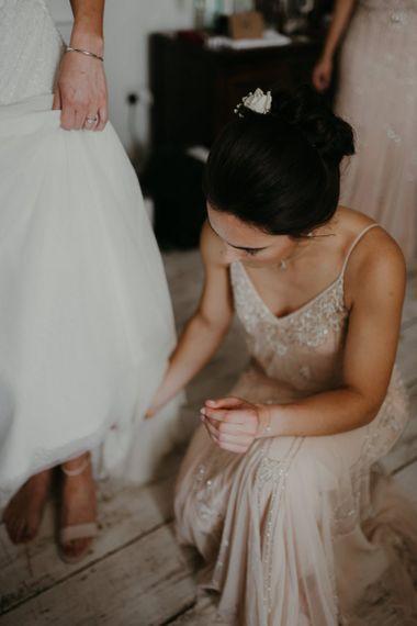 Bridal preparations with beaded bridesmaid dresses