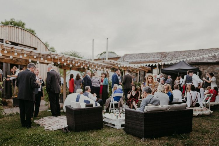 Summer wedding with garden games and drinks