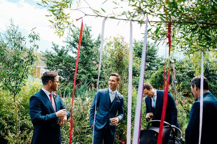 Ribbon Decor | Groomsmen | Bright DIY 'At Home' Outdoor Garden Ceremony & Marquee Reception | Marianne Chua Photography