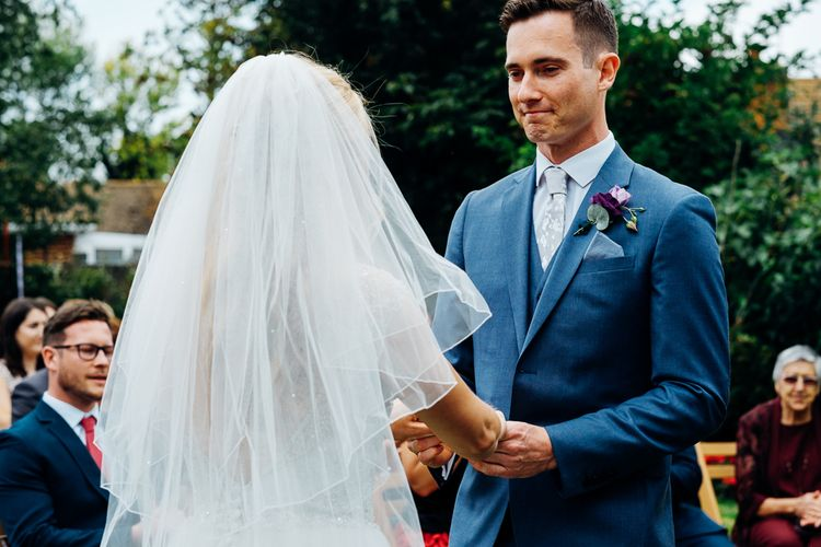 Wedding Ceremony | Bride in Beaded Bodice Gown | Groom in Blue Reiss Suit | Bright DIY 'At Home' Outdoor Garden Ceremony & Marquee Reception | Marianne Chua Photography