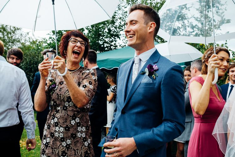 Groom in Blue Reiss Suit | Bright DIY 'At Home' Outdoor Garden Ceremony & Marquee Reception | Marianne Chua Photography