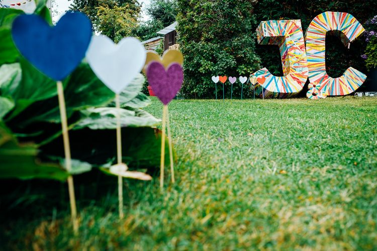 Ribbon Covered Giant Letters | Wedding Decor | Bright DIY 'At Home' Outdoor Garden Ceremony & Marquee Reception | Marianne Chua Photography