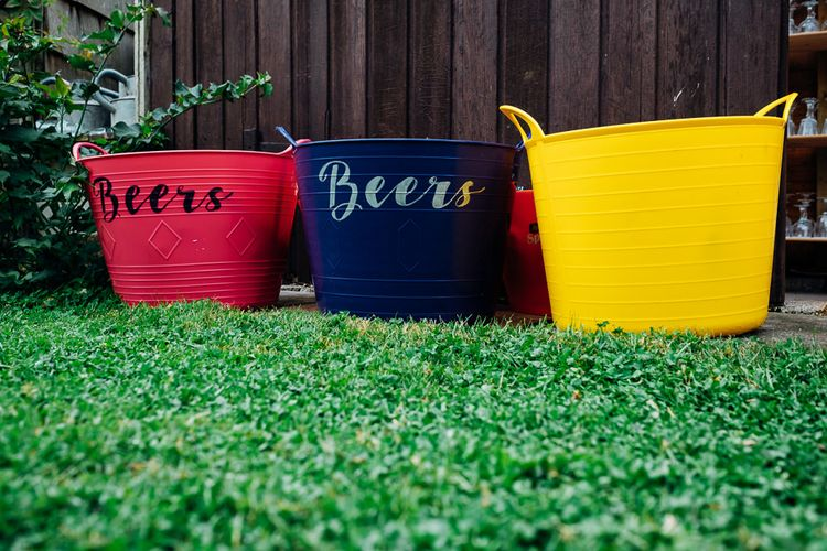 Beer Buckets | Bright DIY 'At Home' Outdoor Garden Ceremony & Marquee Reception | Marianne Chua Photography