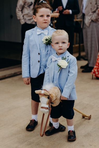 Page Boys in Navy Shorts, Gingham Shirts, Blue Blazers and Bow Ties