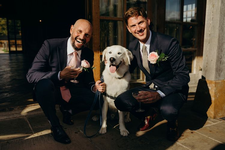 Groom and Groom with their pet Labrador