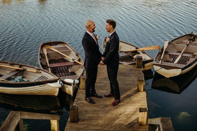 Groom and Groom Portrait by the docks
