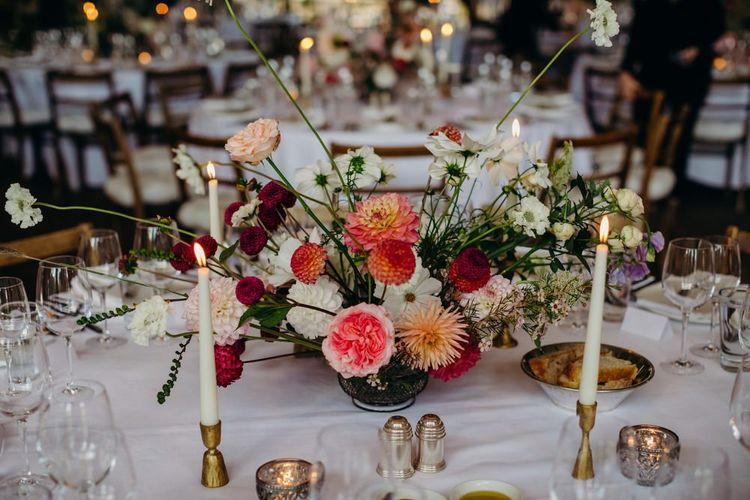 Pink and White Dahlia Flower Centrepiece Decor
