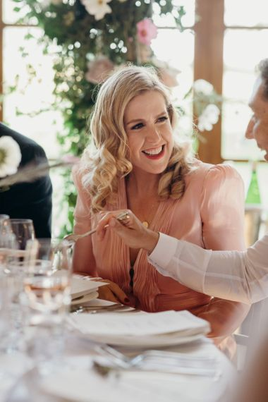 Bridesmaid in Pink Dress with Finger Waves Hair