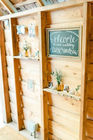 Chalkboard Wedding Welcome Sign in Gold Ornate Frame