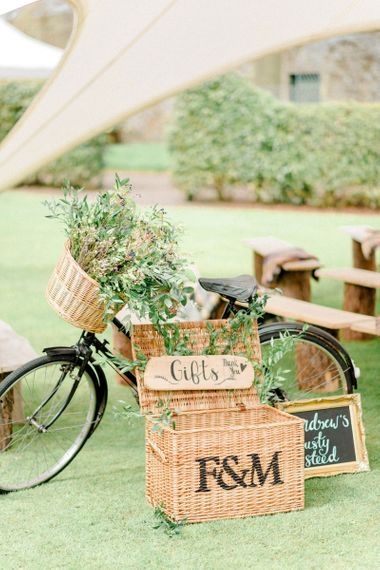Vintage Bicycle and Wicker Basket for Gifts Wedding Decor