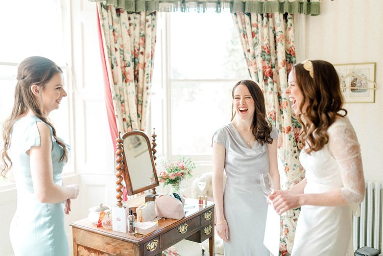 Bride and Bridesmaids on the Wedding Morning
