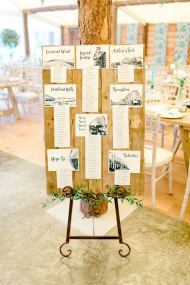 Wooden Table Plan with Black and White Illustrations on an Easel
