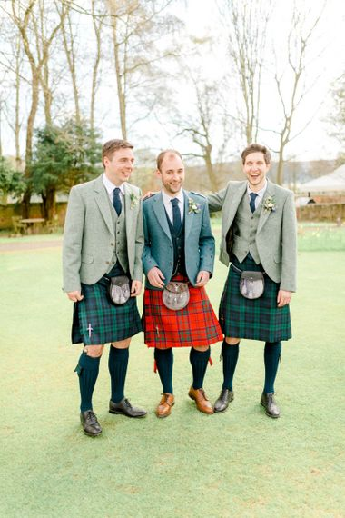 Groomsmen in Tartan Kilts Wedding Attire
