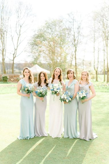 Bridal Party Portrait with Bridesmaids in Satin Ghost Dresses