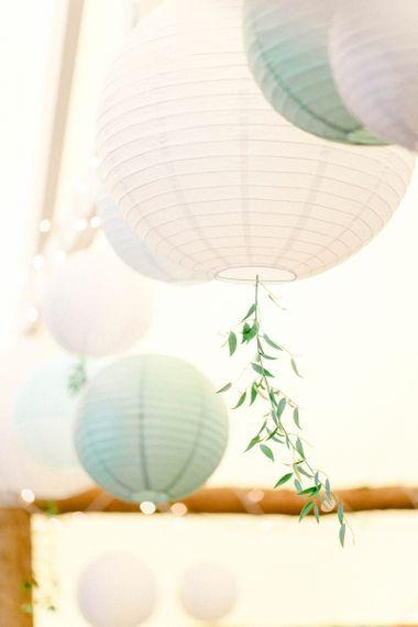 Hanging Paper Lantern with Foliage Tail Wedding Decor