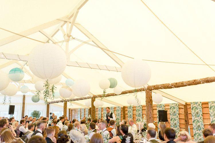 Hanging Paper Lanterns Wedding Reception Decor