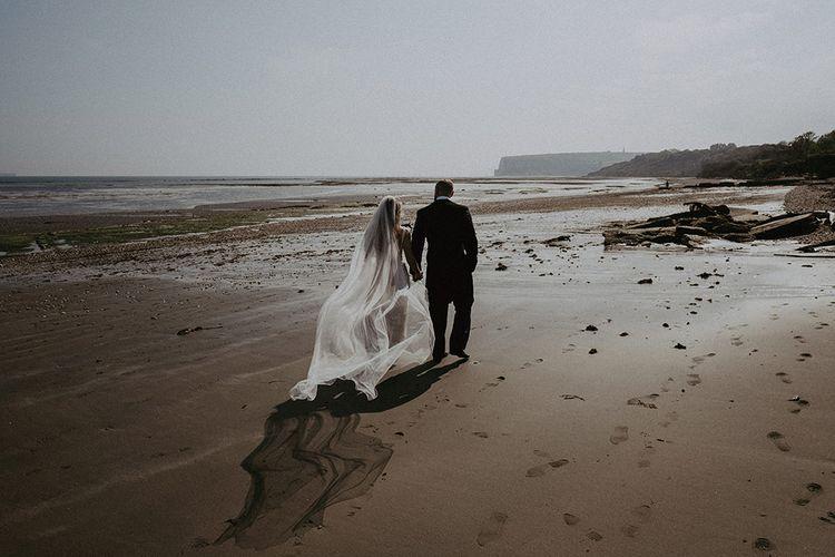 Bride & Groom with Veil for Beach Wedding