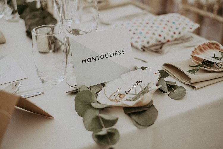 Graphic Table Name with Shell Place Names and Twine Labels