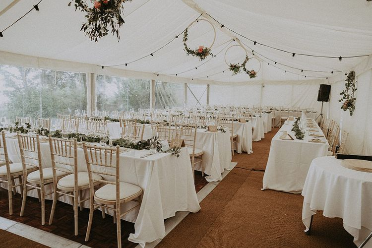 Marquee Wedding with DIY Flowers and Decor and Long Tables