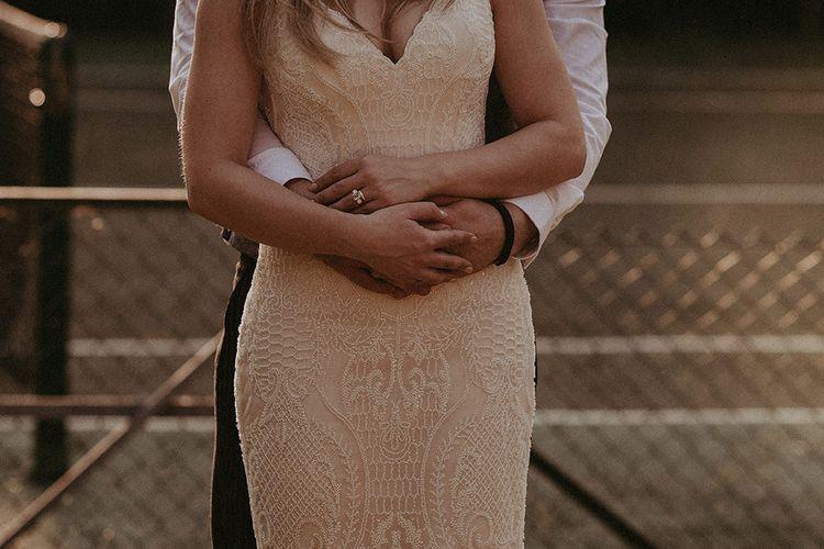 Ashley and Justin Blush Lace Dress