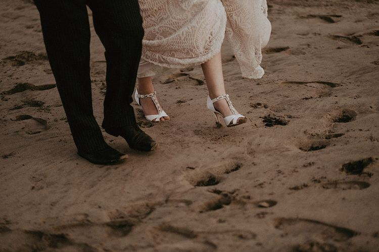 White Bride Shoes with Jewell Diamante Detail