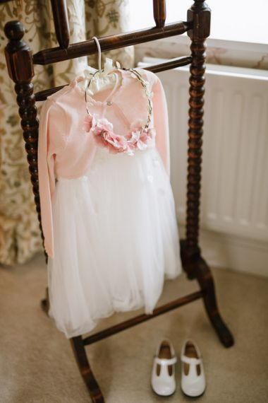 Flower Girl Outfit with Tulle Dress and Pink Cardigan