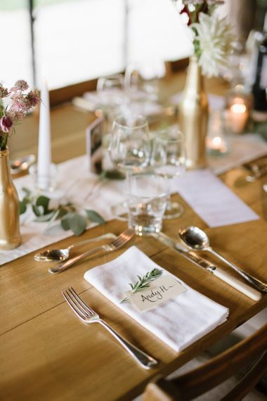 Elegant Place Setting with Napkin, Place Name Card and Rosemary Sprig