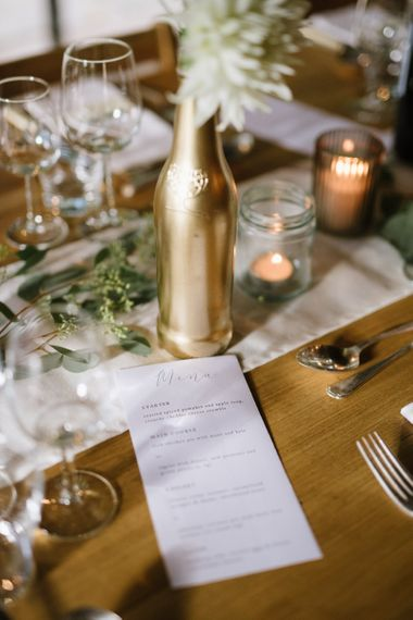 Gold Spray Painted Bottle and Minimal menu Card