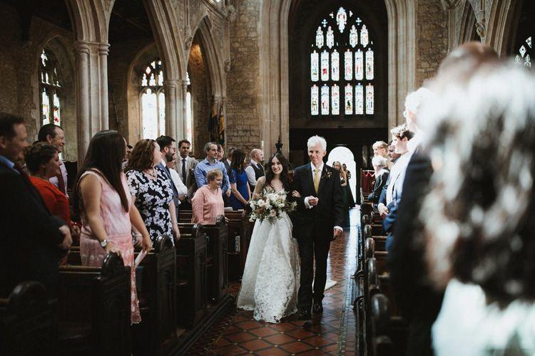 Bride Walks Down The Aisle With Father Of Bride