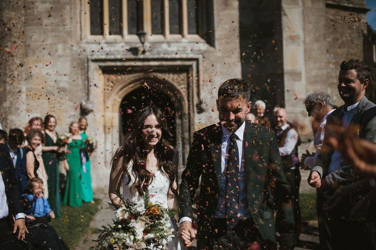 Bride and Groom Confetti Exit  For Hauser and Wirth Somerset Wedding