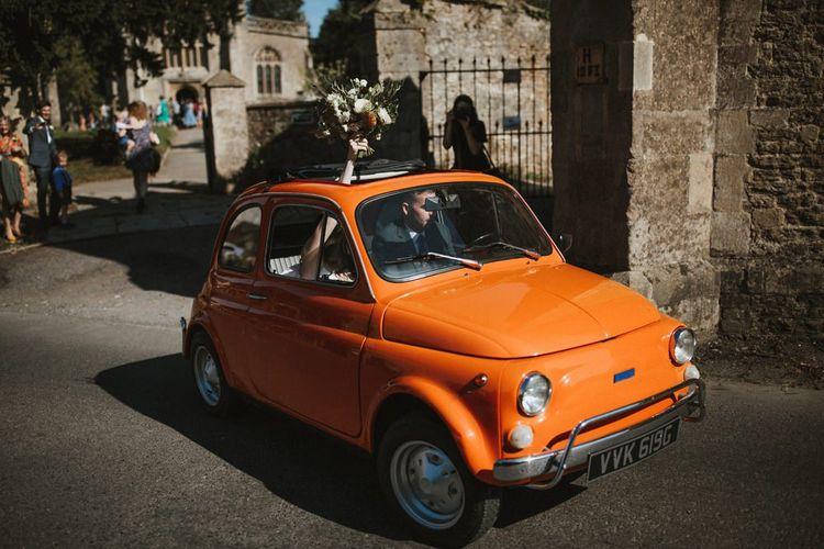Bright Orange Fiat 500 Wedding Transport In Somerset